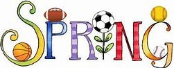 A Banner with the word Spring with sports balls sprinkled on it