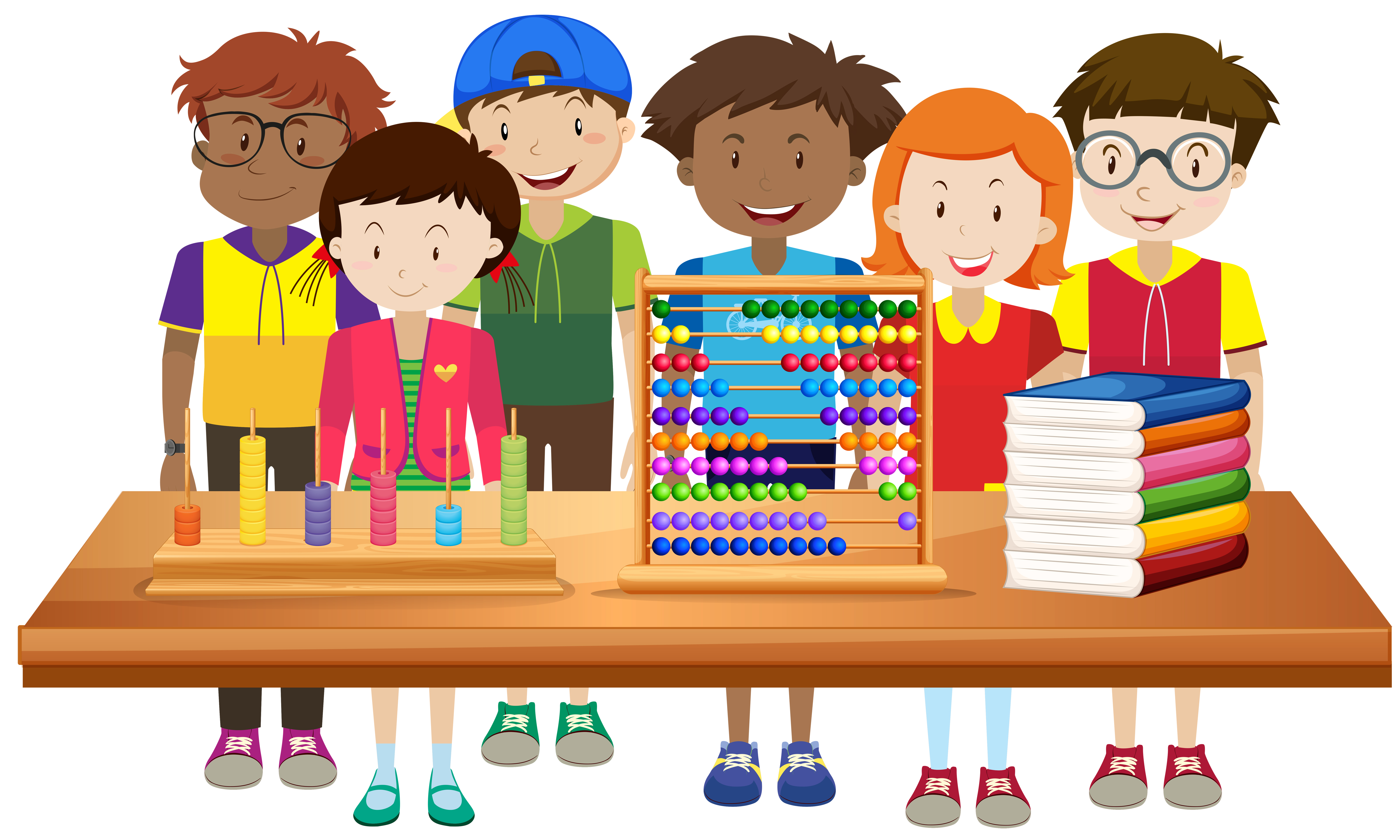 Clip Art of Students behind a table to Math Manipulatives and Books