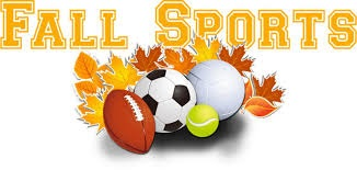 Banner that says Fall Sports with Sports Balls and Fall Leaves