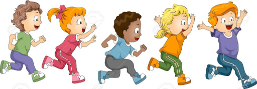 Clipart of young children running