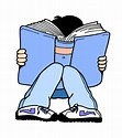 Clip Art Boy with his face buried in a book
