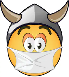 Yellow Smiley Face with Viking Hat and Mask