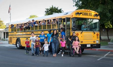 Teachers and Students getting off a CUSD Bus