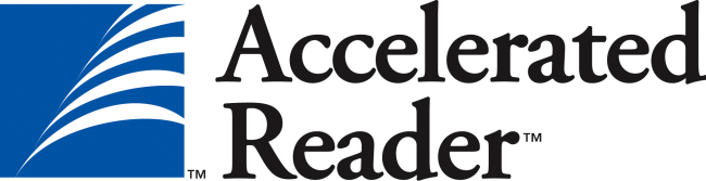 The logo for Accelerated Reader in black letters on a blue and white background.