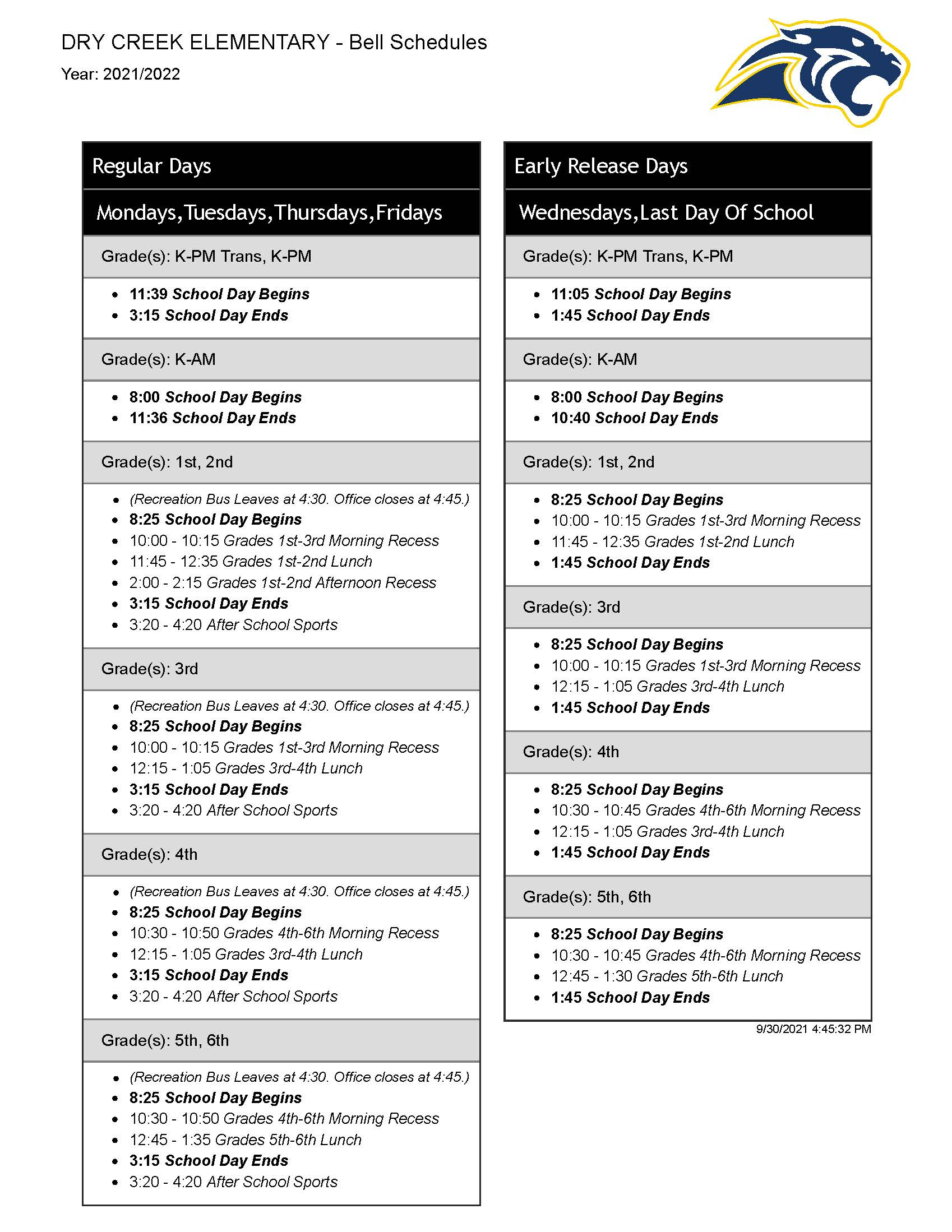 bell schedule – full text downloadable on page