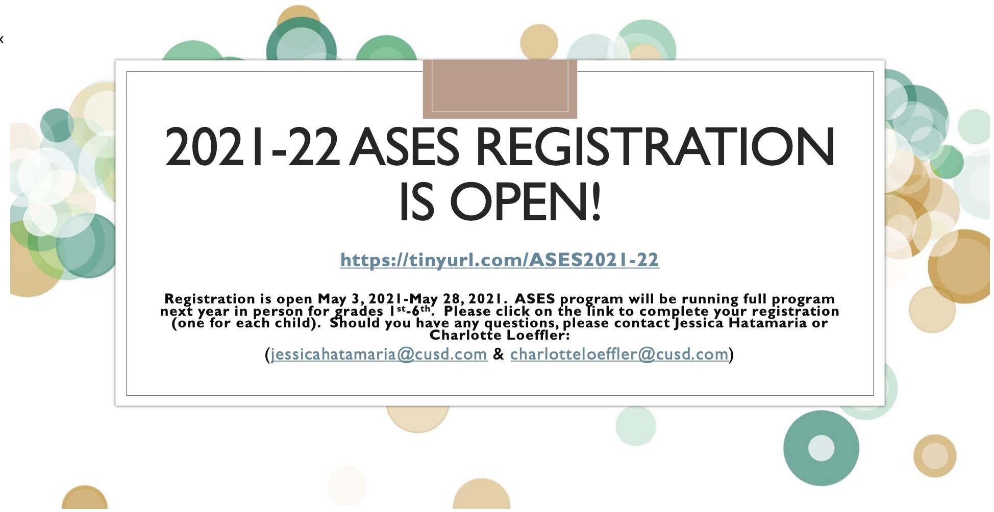 ASES Registration Information