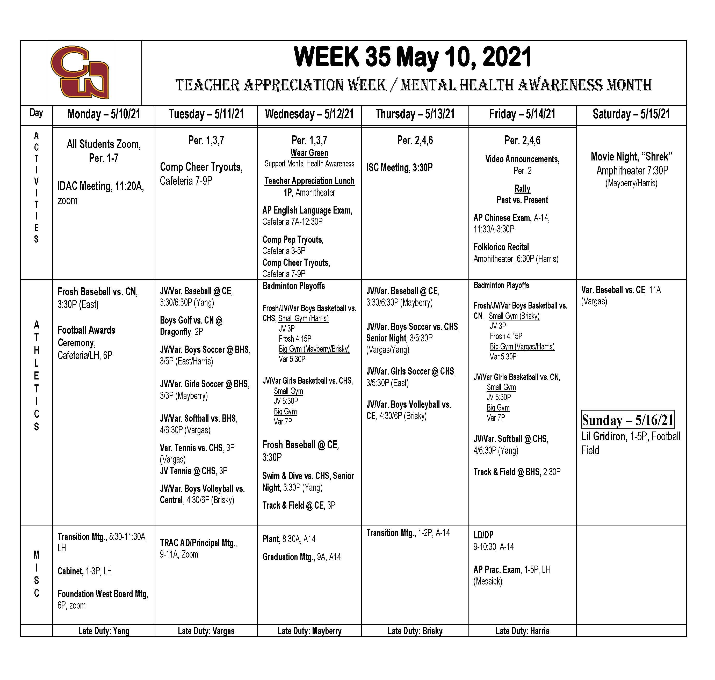Week of May 10th
