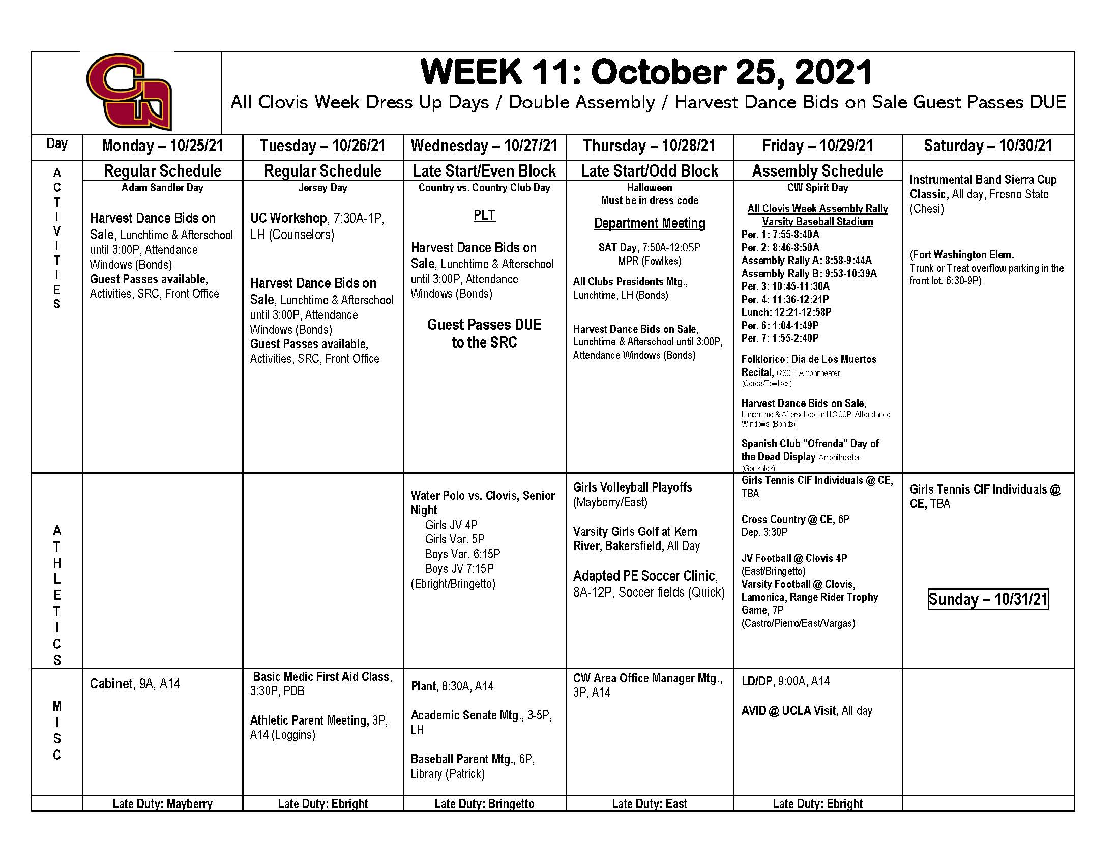 Week of Oct. 25th