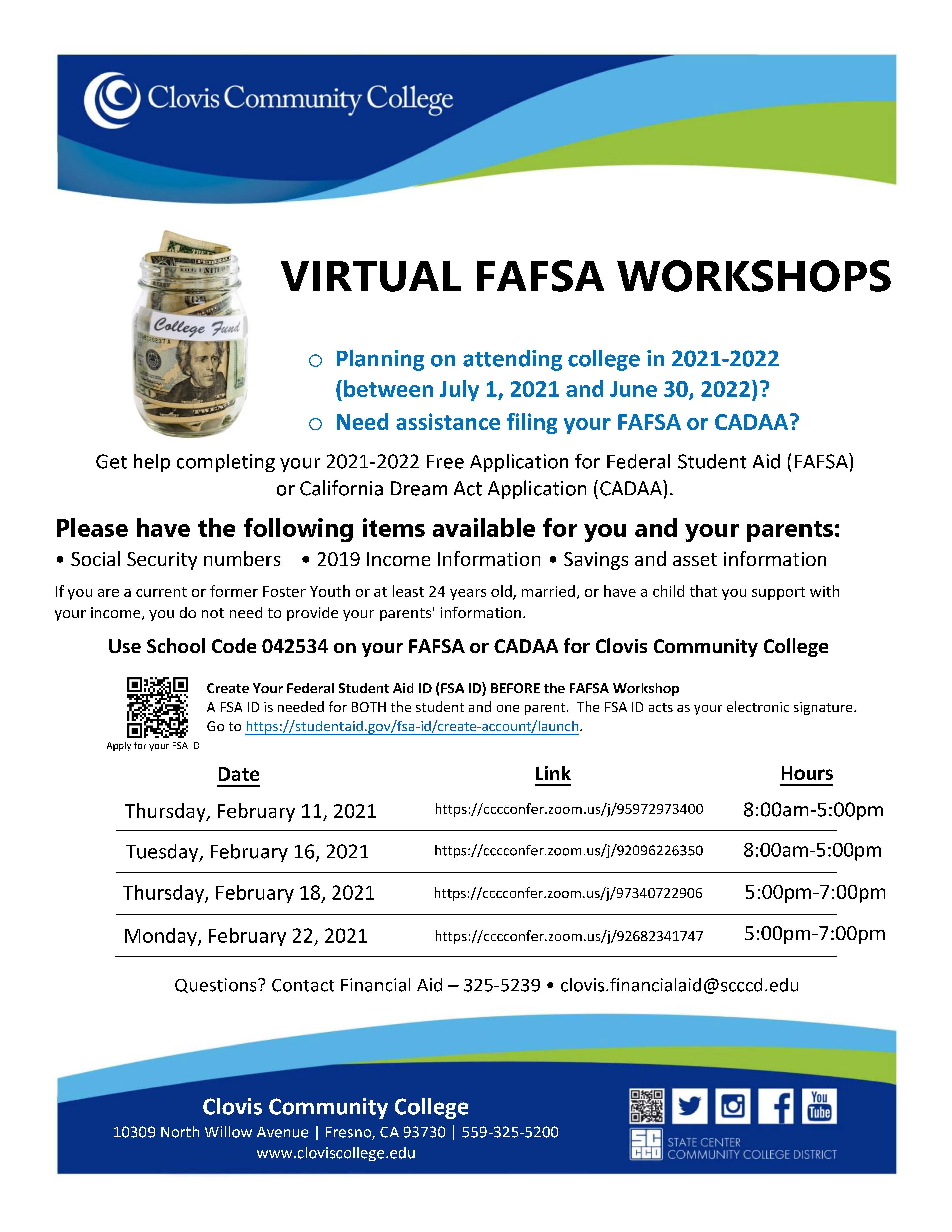 Virtual FAFSA workshops