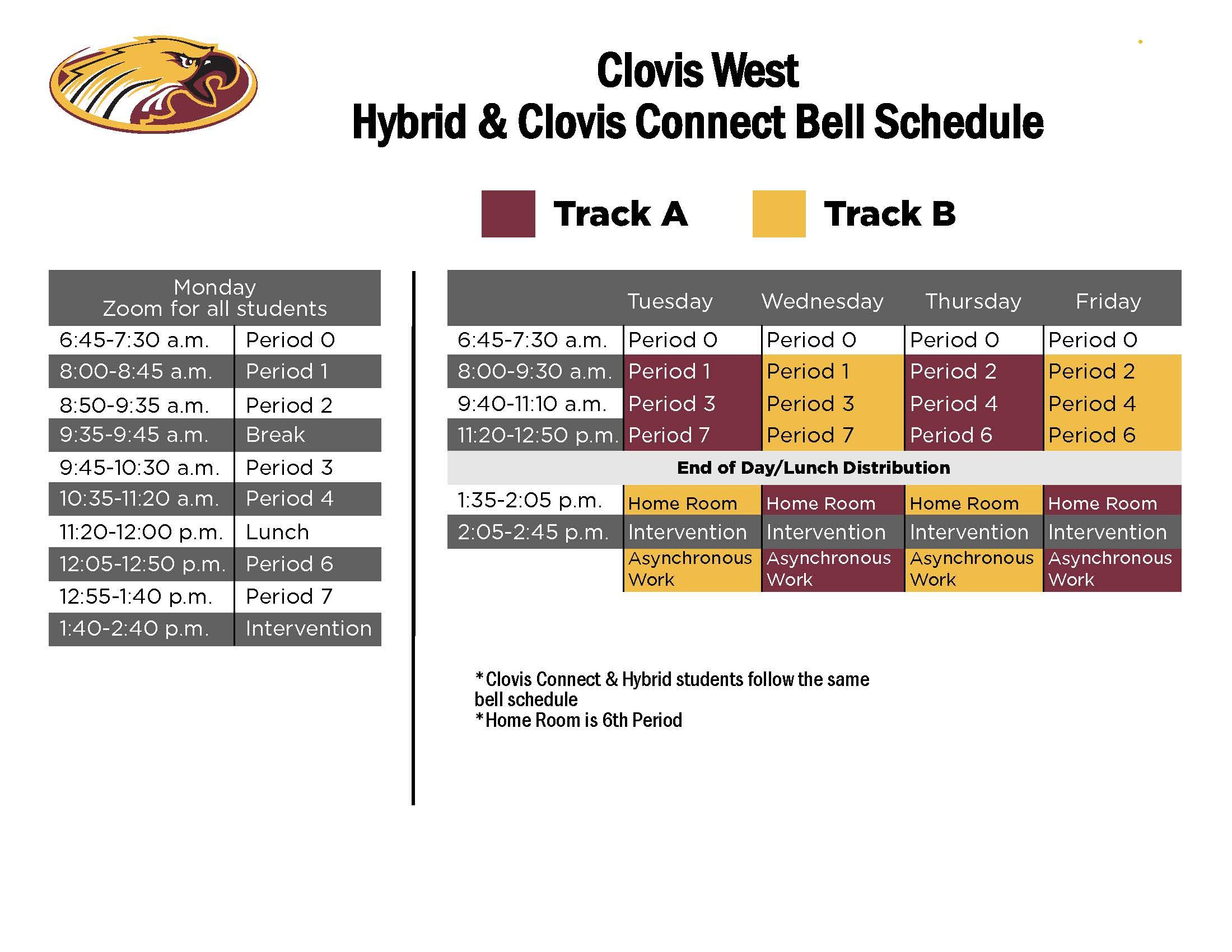 Clovis West Hybrid and Clovis Connect Schedule