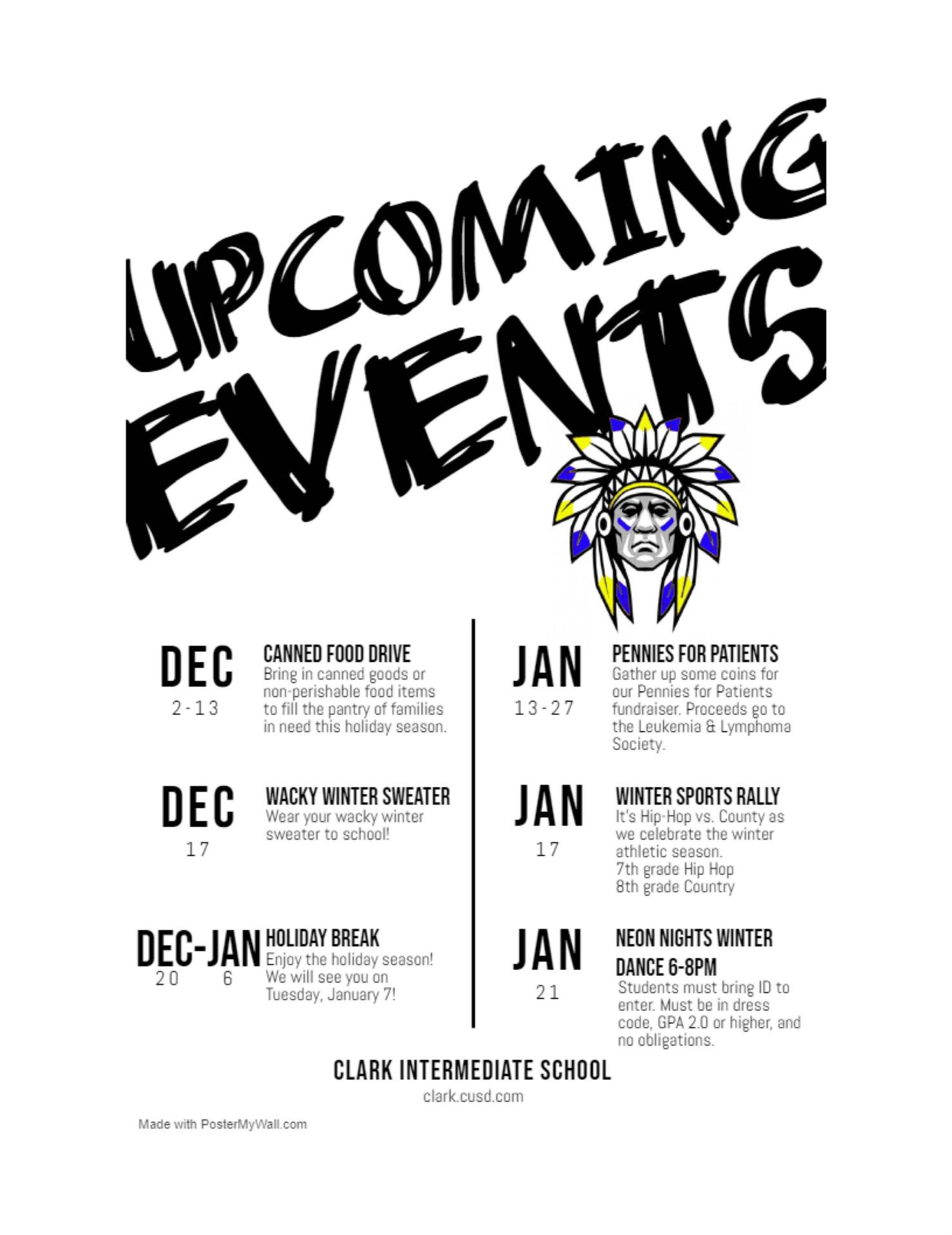 December Events Flyer