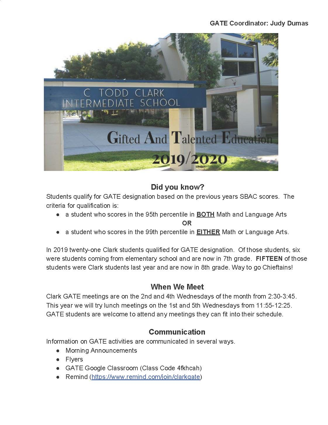 Gate Information Flyer