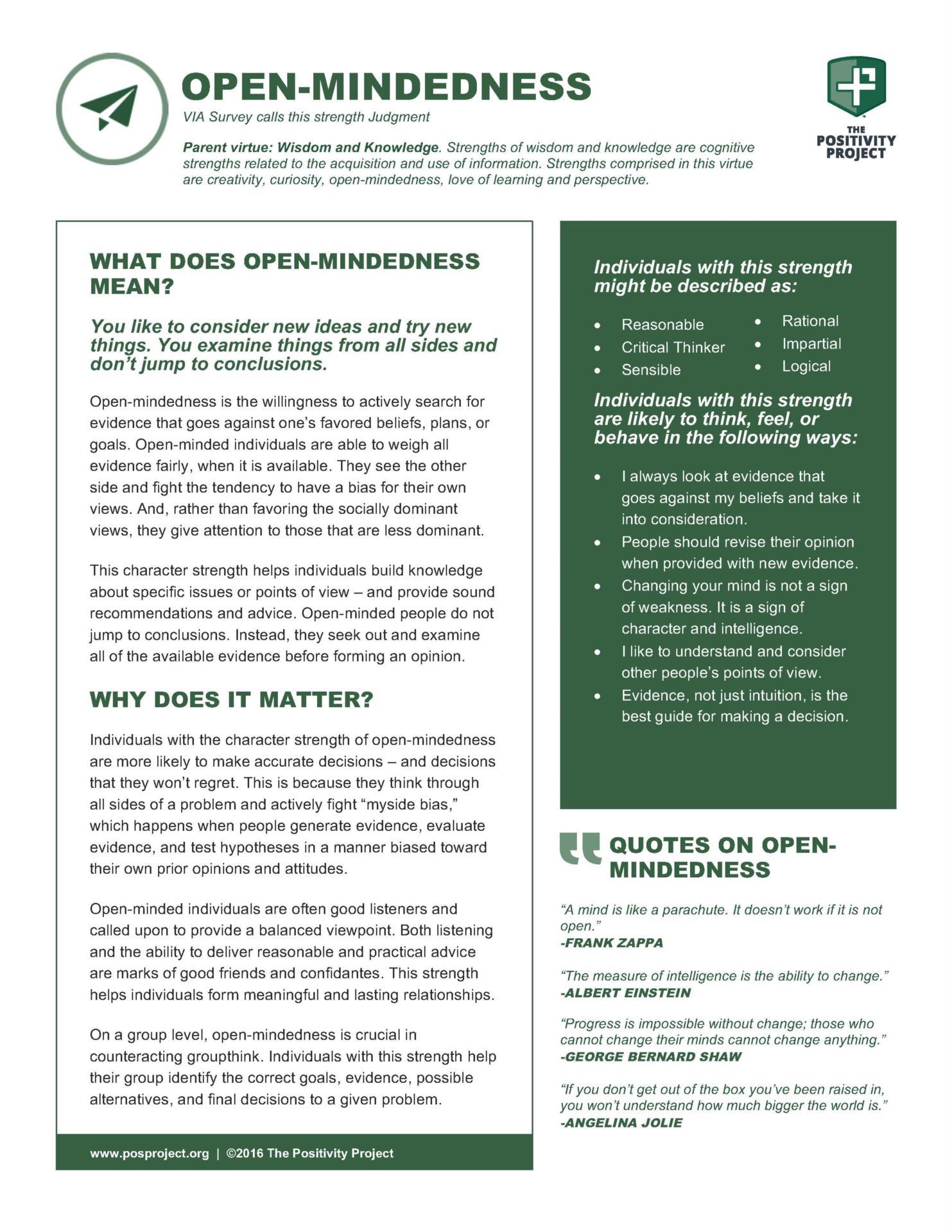 Open Mindedness Card