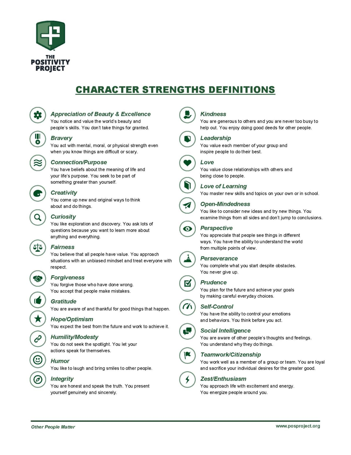 Character Strenghts