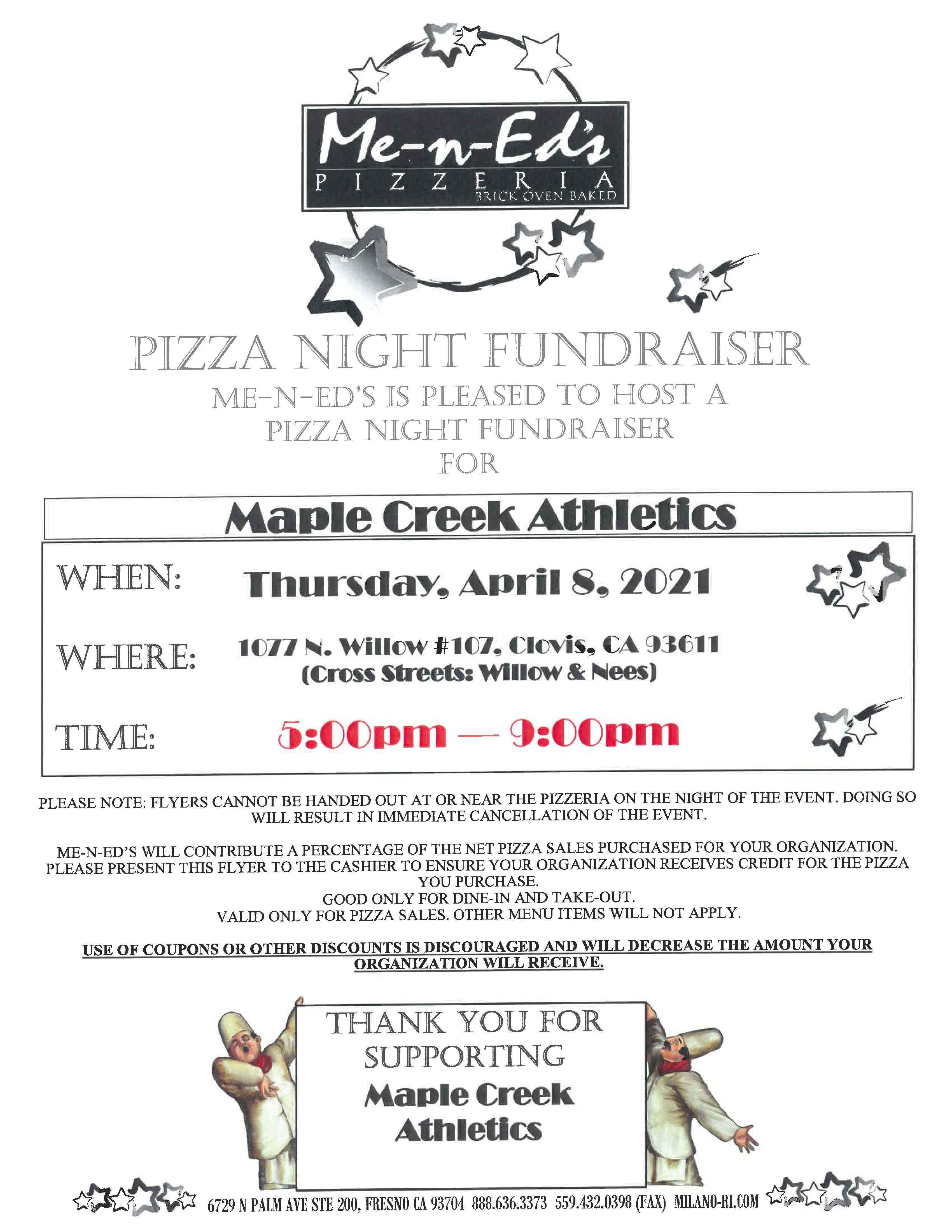 April 8 Pizza Night