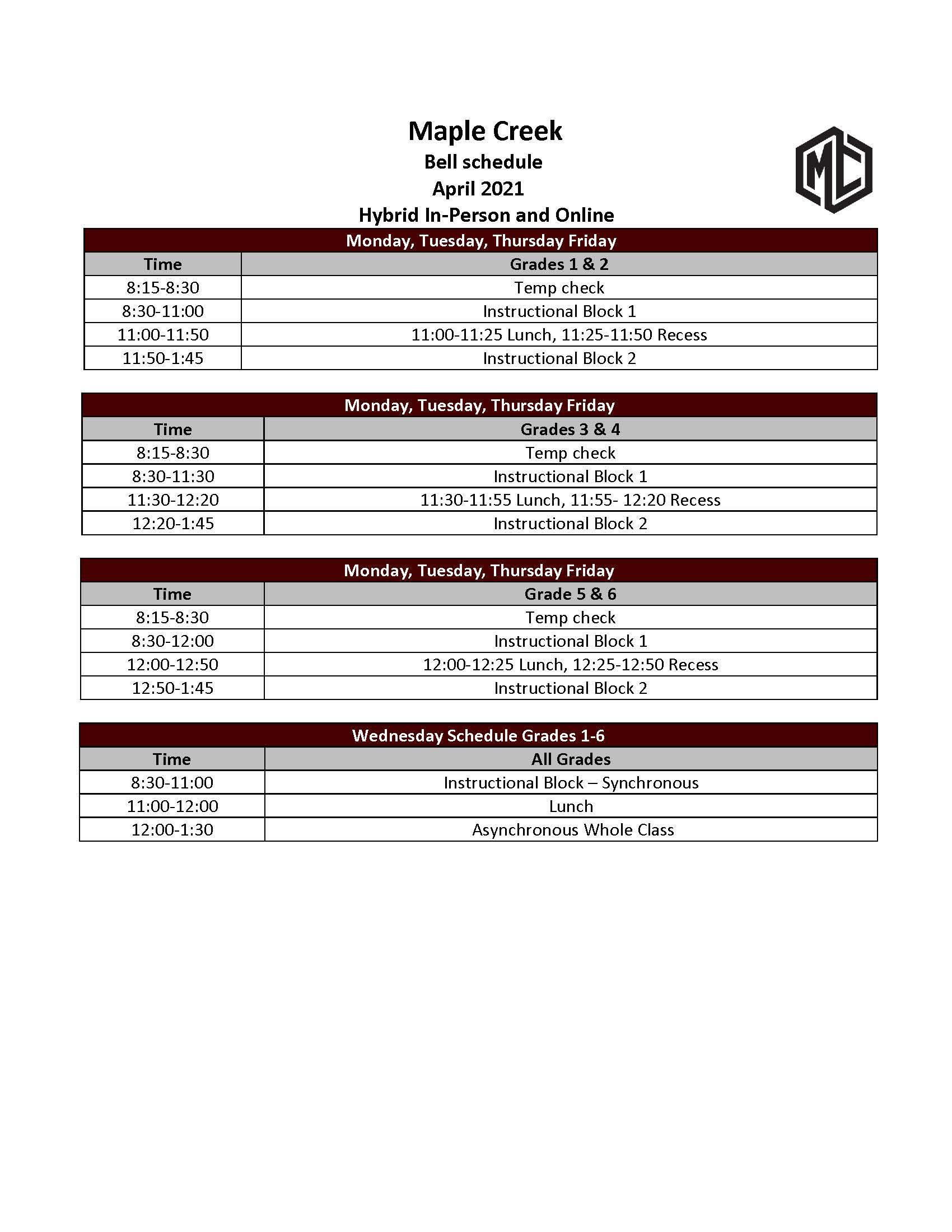 Bell Schedule April 6 2021