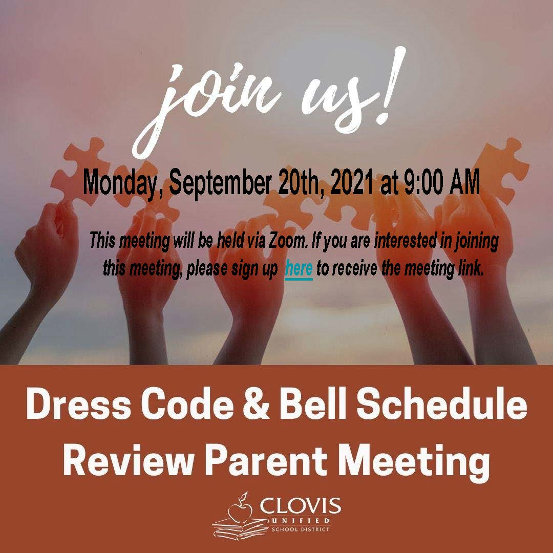 bell schedule and dress code meeting graphic