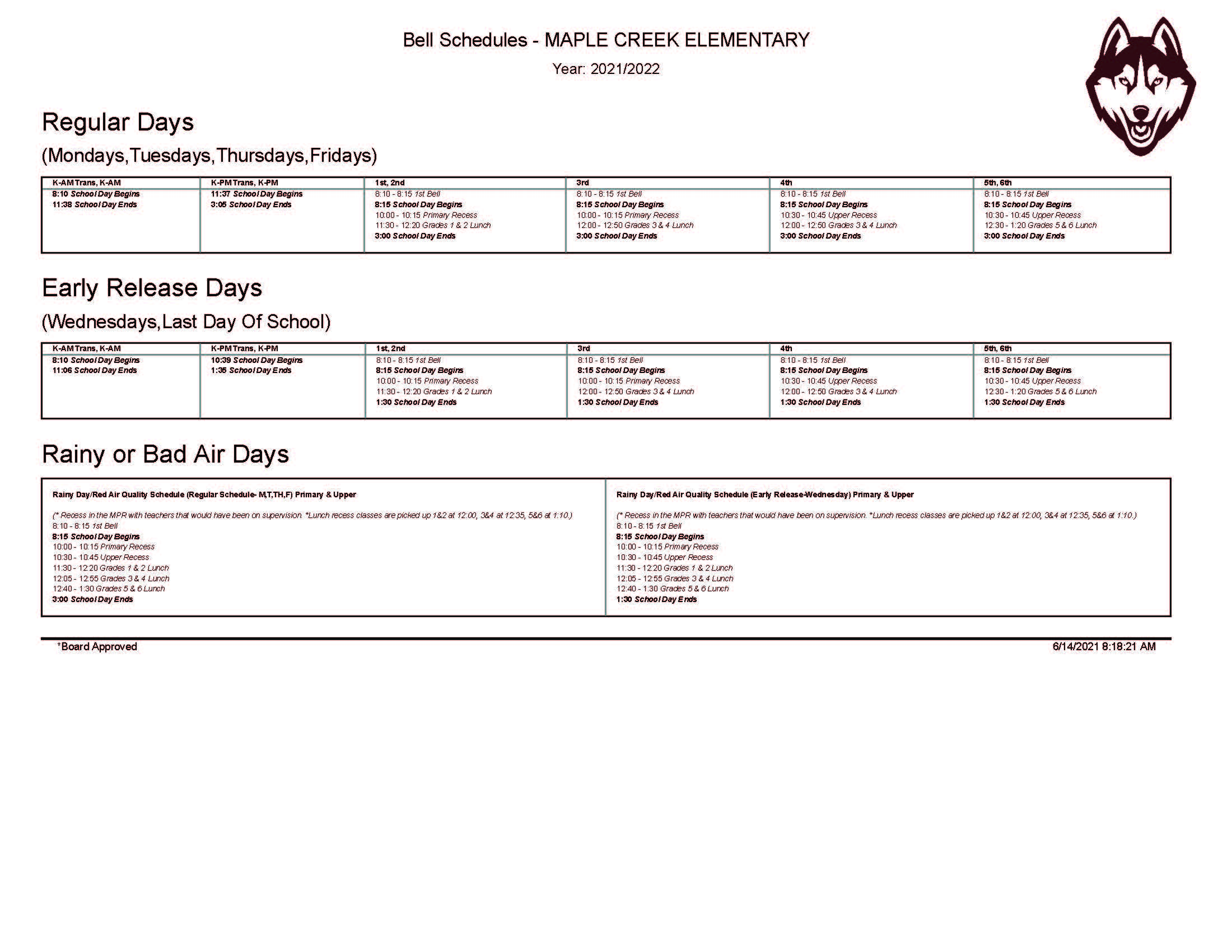 2021-22 Bell Schedule