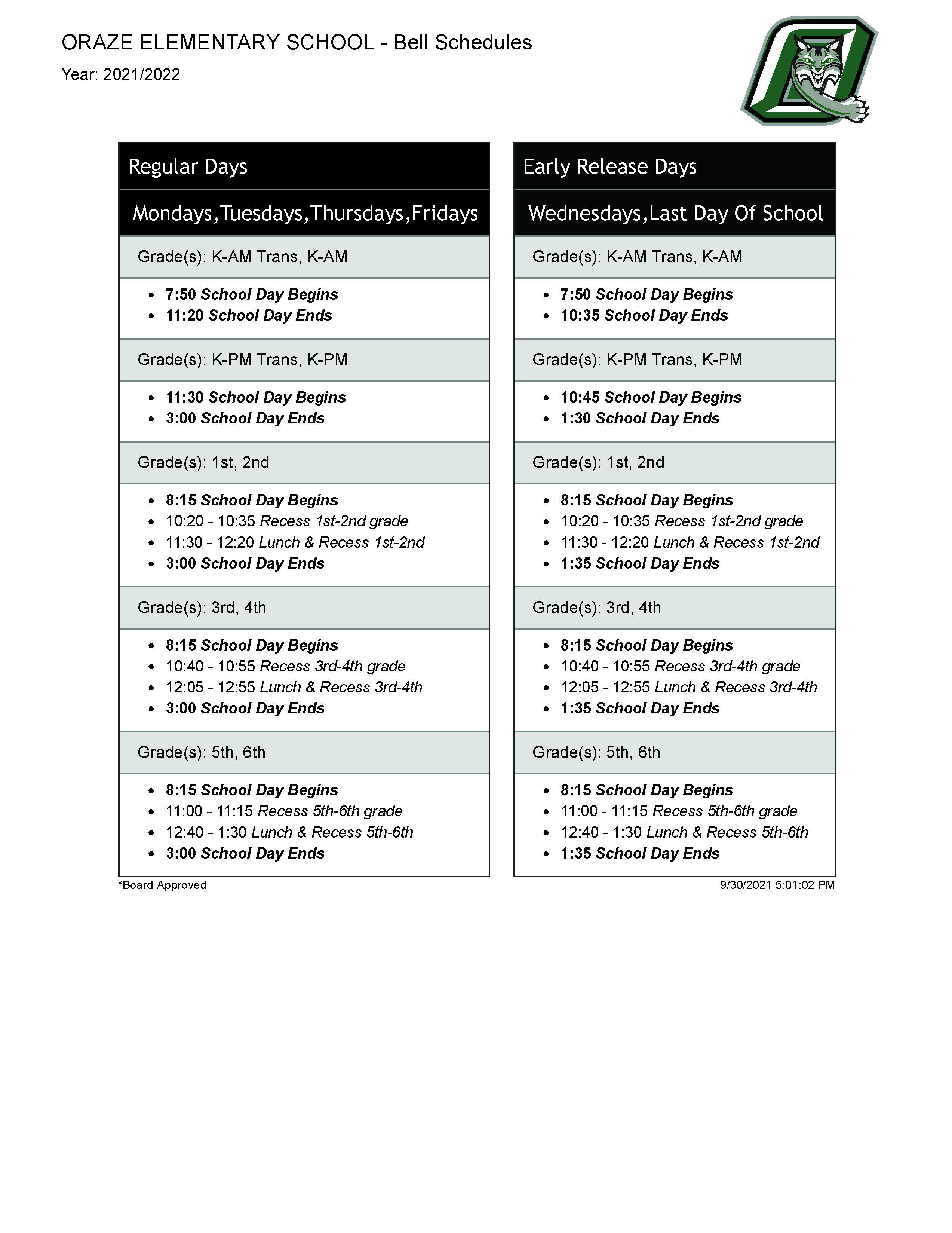 full bell schedule