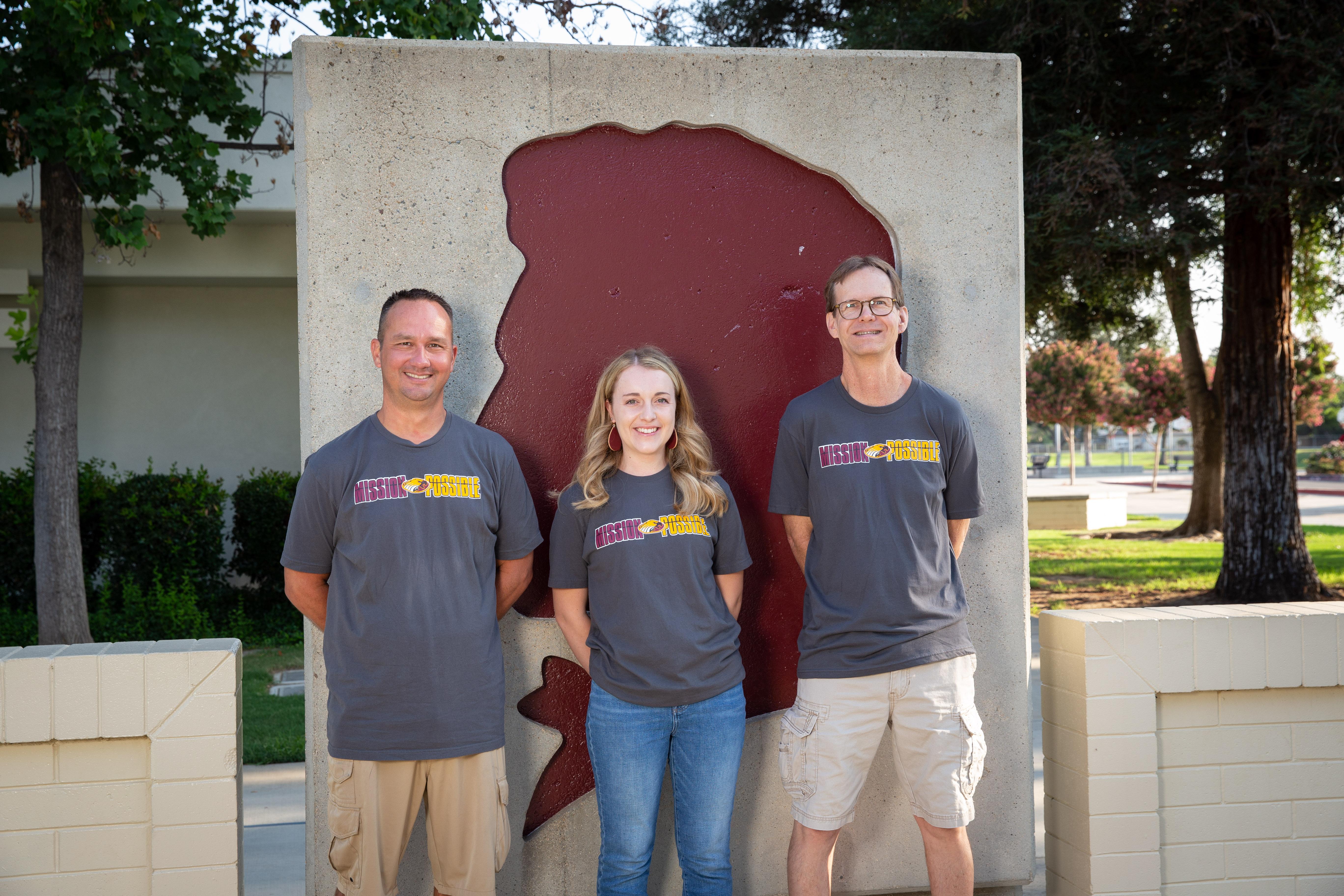 Sixth grade teachers  Steve Dunbar, Breanna Olsen, and Tom McBride