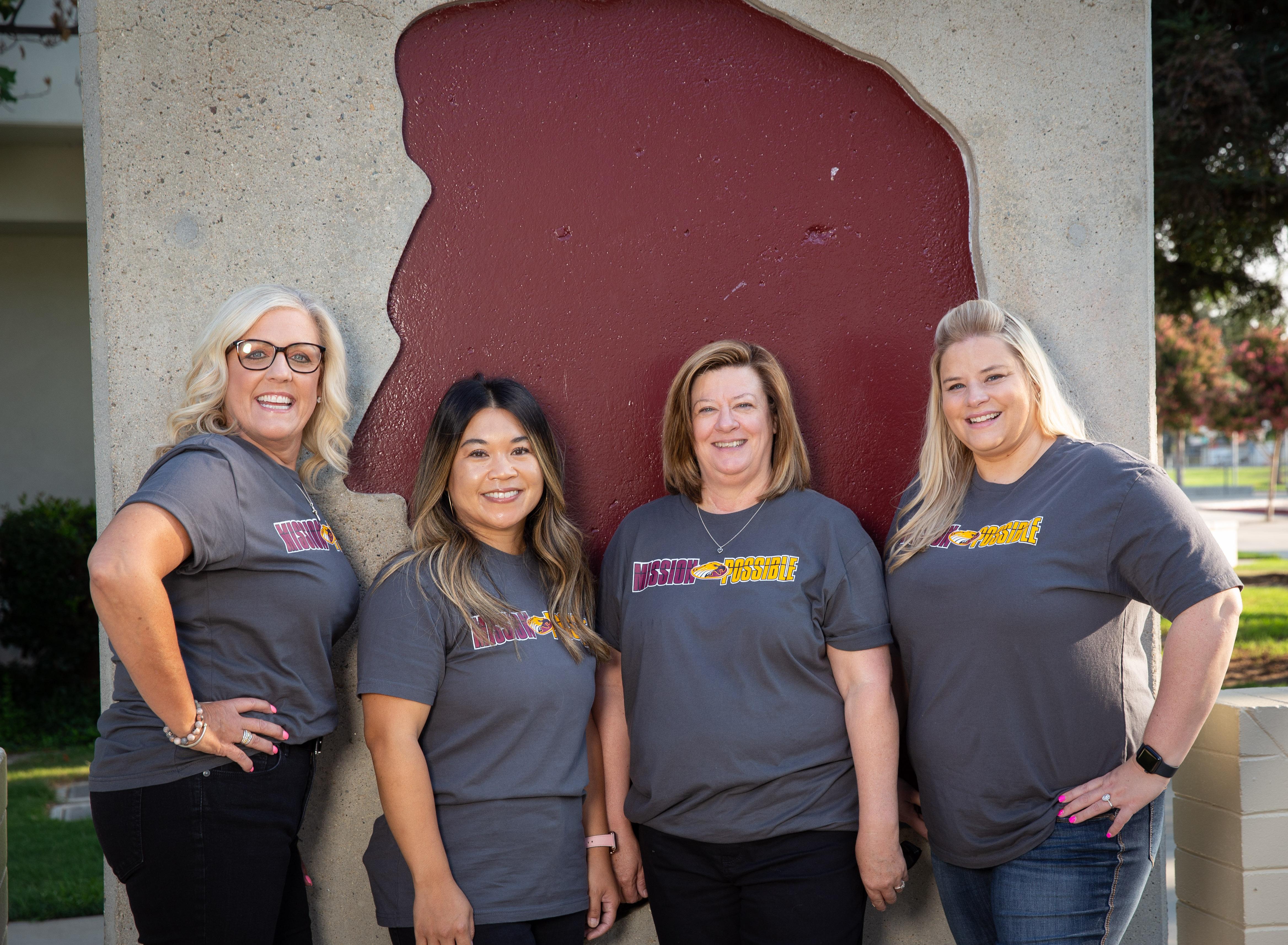 Kindergarten teachers Debora Keeney, Charinee Williams, Linda Mesrobian, and Ashley Weldon