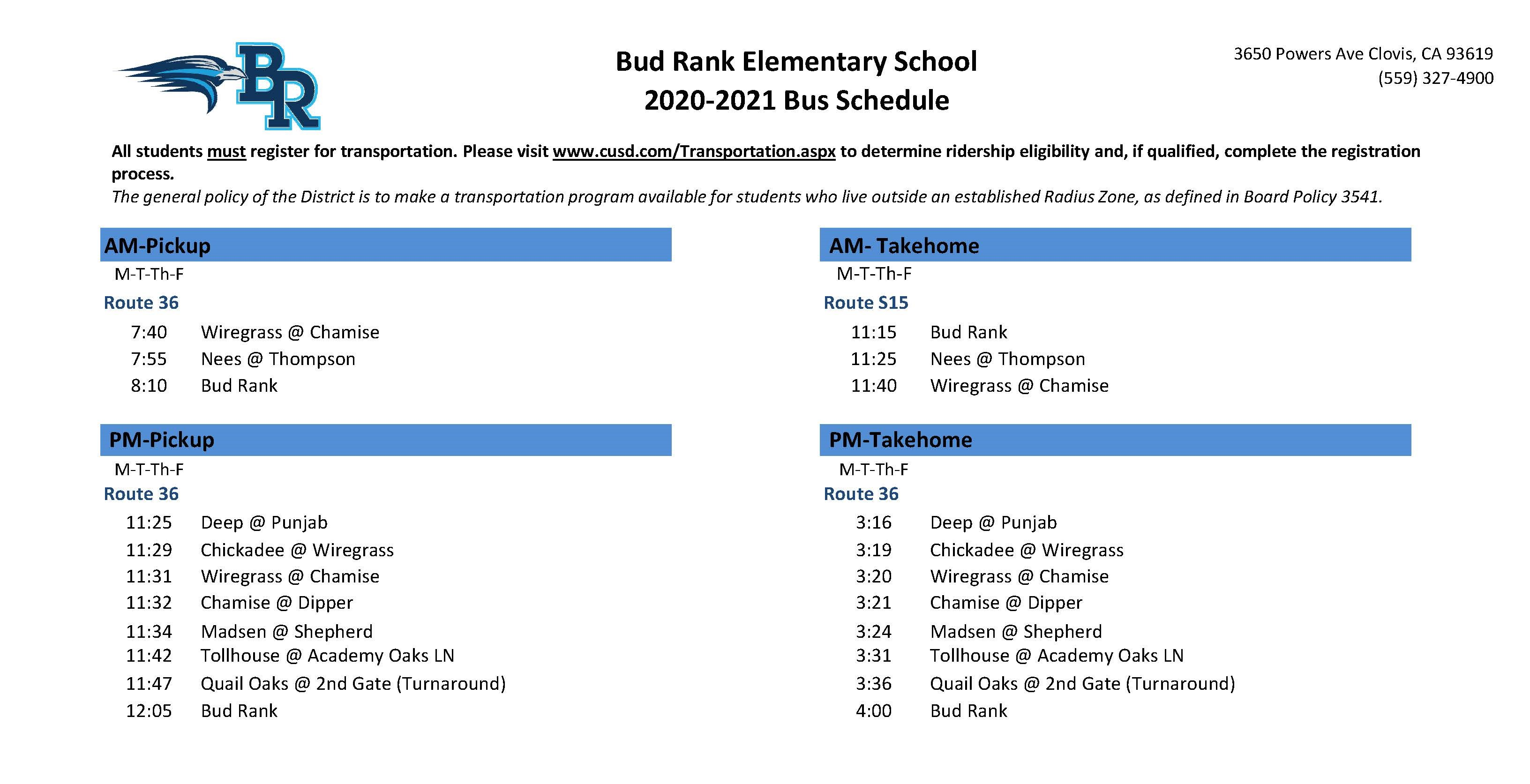 Bud Rank Elementary Buss Schedule-see above link for details