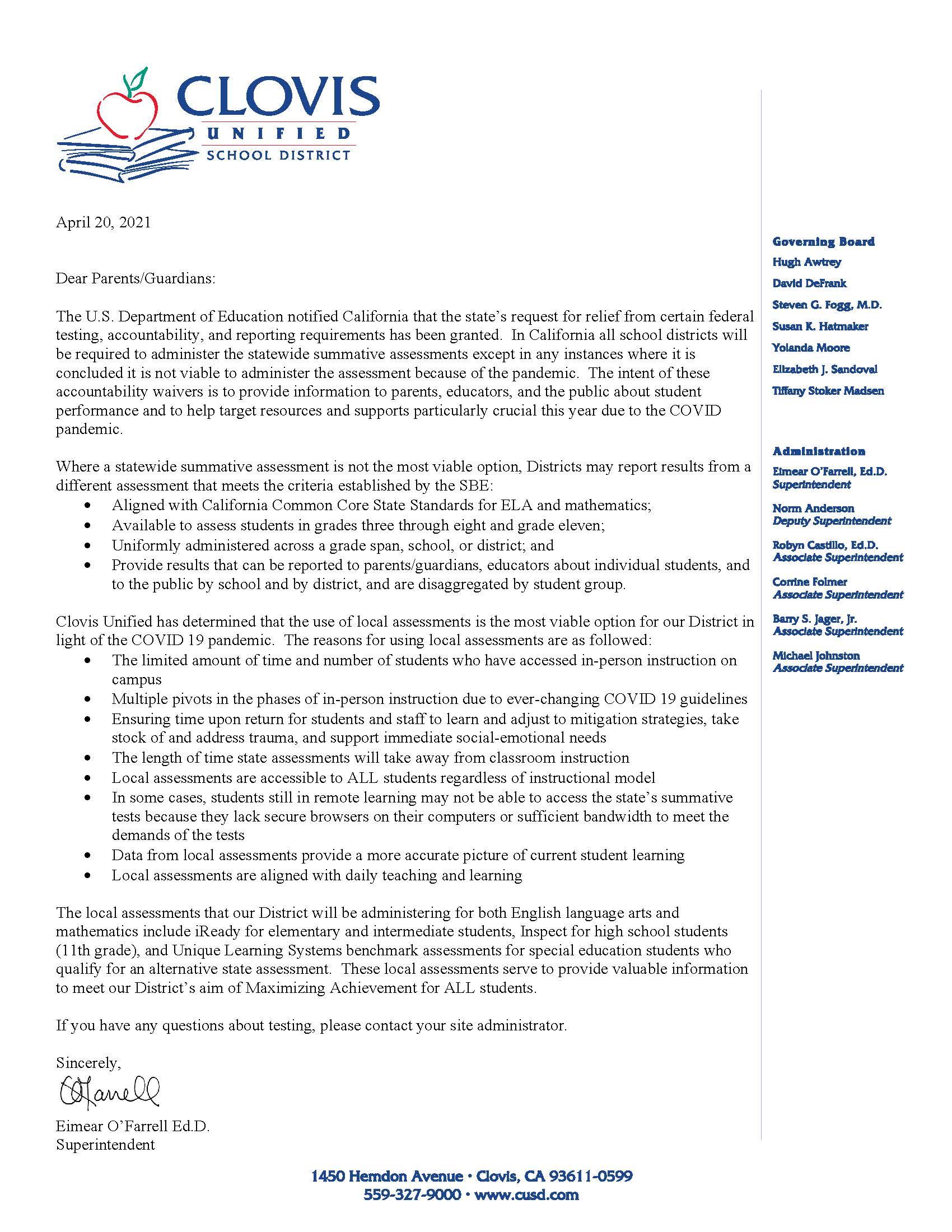 2021 Parent Testing Letter, link to PDF above
