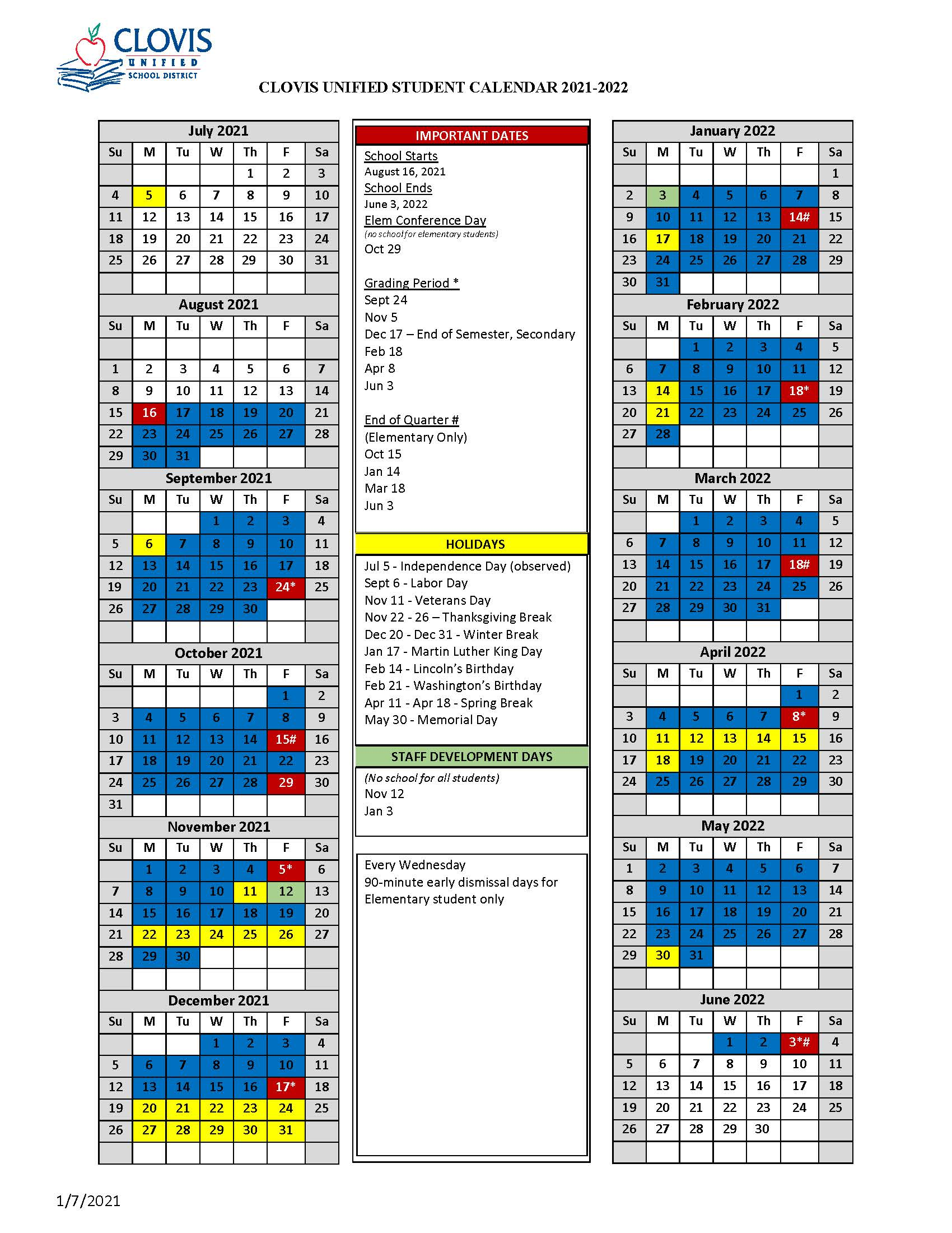 Picture of Student Calendar. Link to PDF to the left.