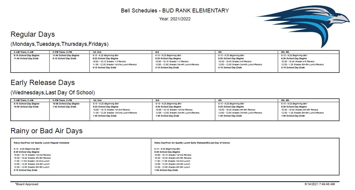 Bud Rank Bell Schedule, PDF link at right