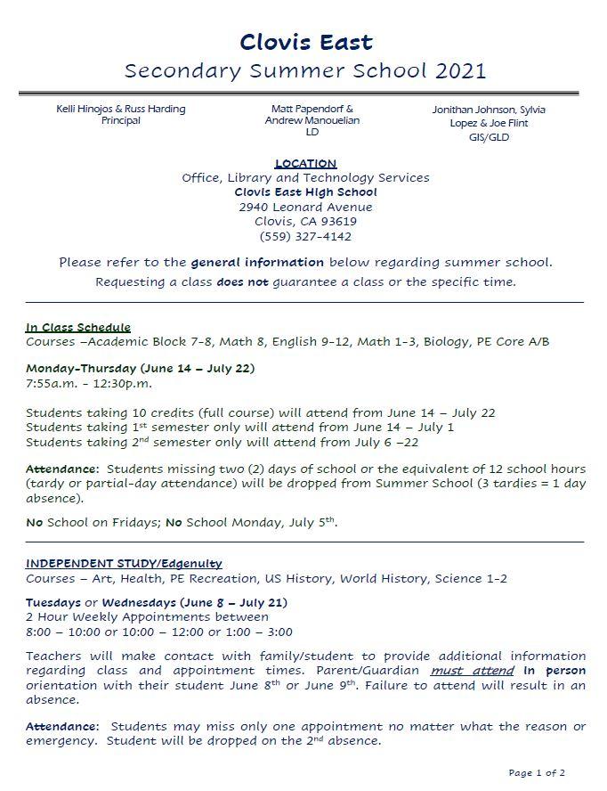 Clovis East Secondary Summer School 2021 Info. pg. 1