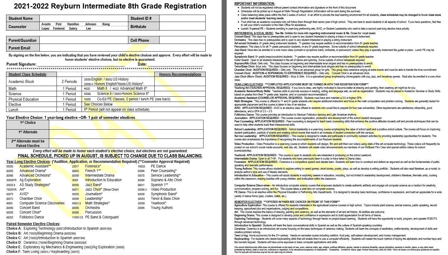 8th Grade Course List
