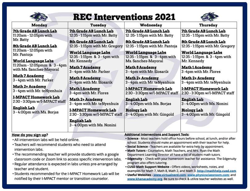 REC Interventions 2021 calendar form
