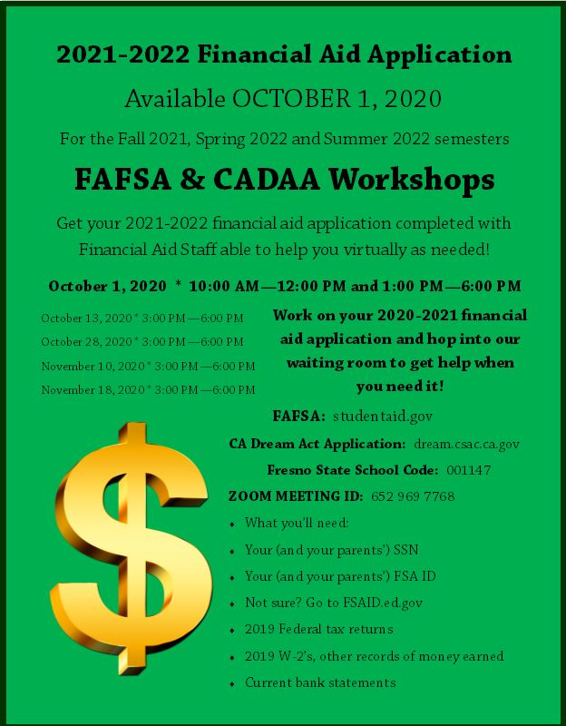 Financial Aid Application for 2021-2022 flier