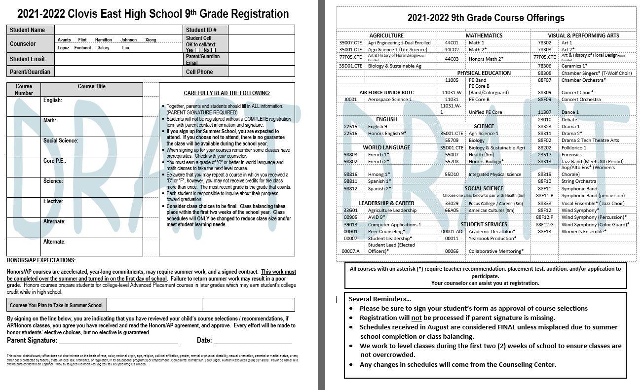 9th Gr. Class Form