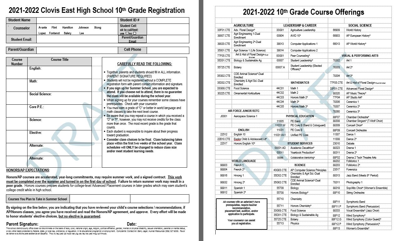 10TH Grade Course Offering Form