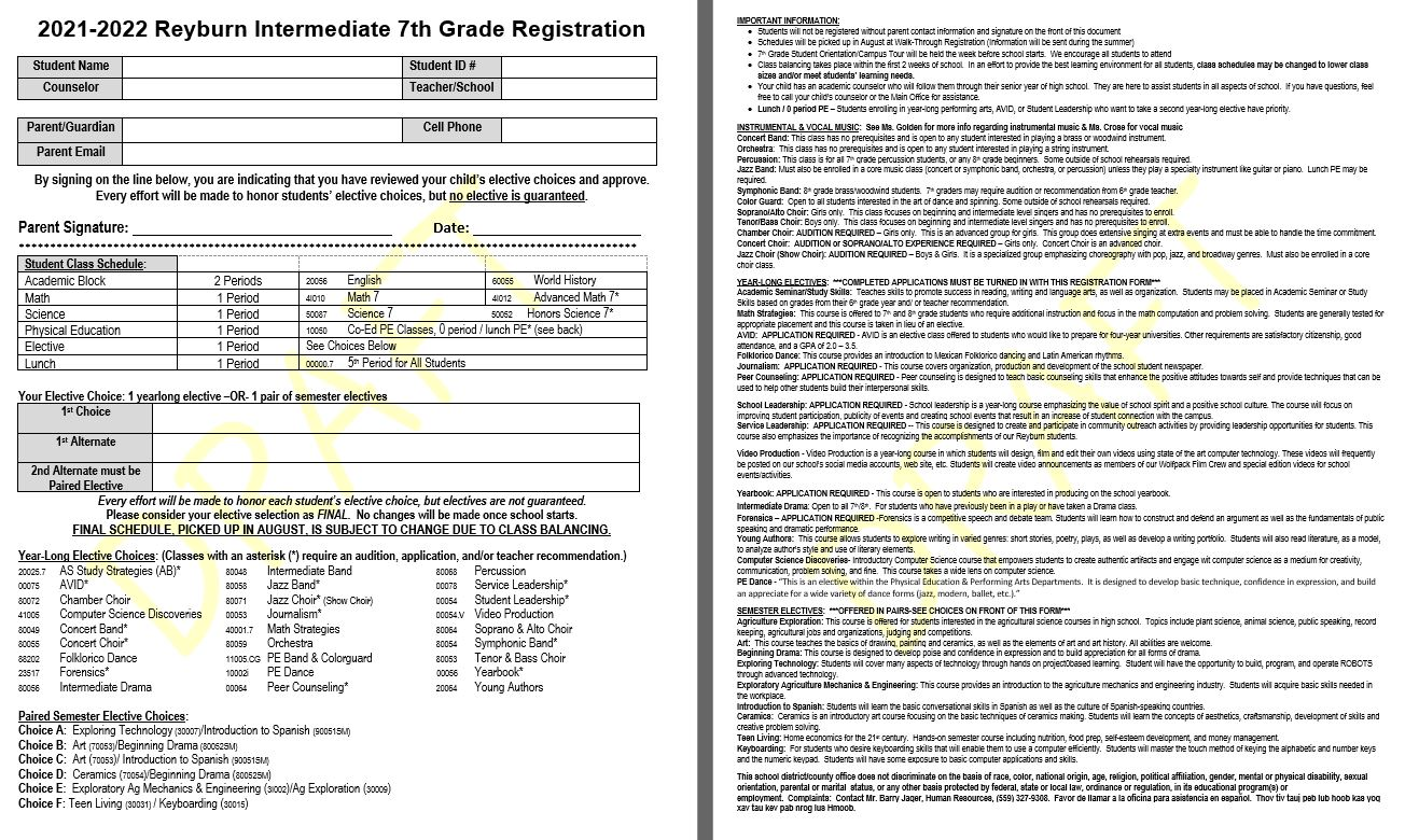 7th Grade Course Offerings Picture