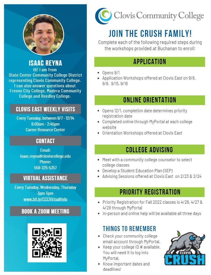 Clovis Community College Flyer introducing Isaac Reyna - CEHS Representative