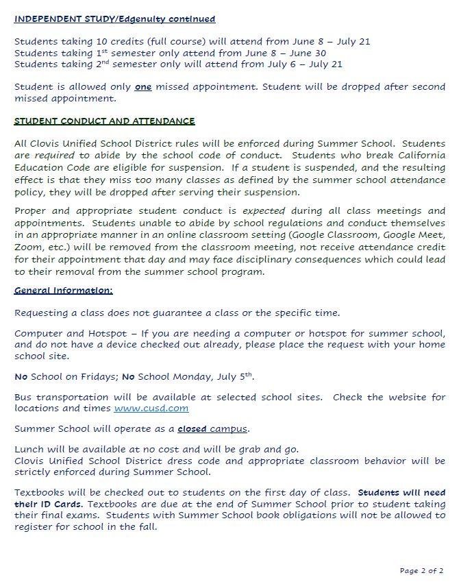 Clovis East Secondary Summer School 2021 Information pg. 2