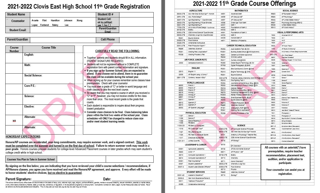 11TH Grade Course Offerings Form