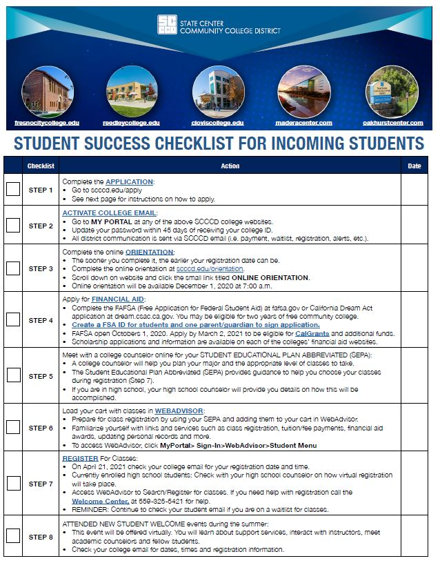 Student Success Checklist for Incoming Students pg.1