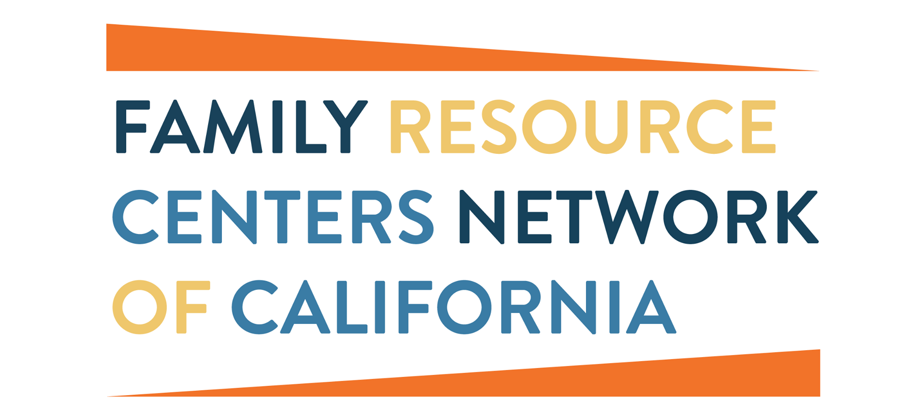 Family Resource Centers Network of CA logo. Orange triangles with blue, black and yellow font