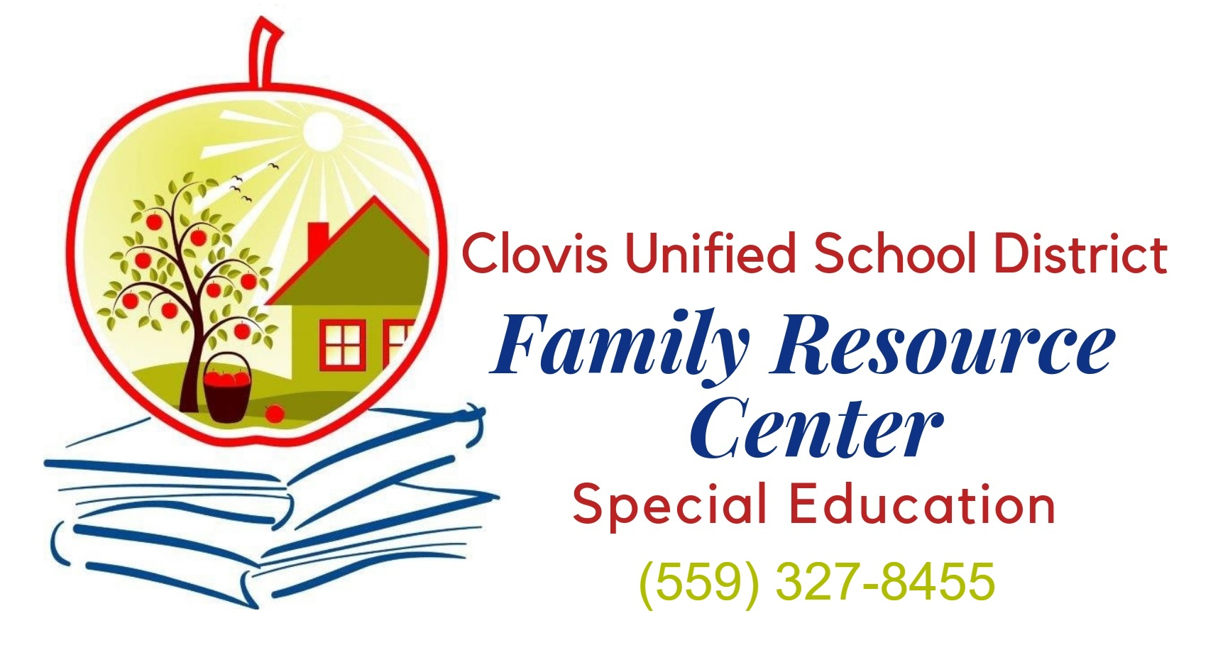 CUSD Family Resource Center logo. Red clip art apple with house and apple tree inside.