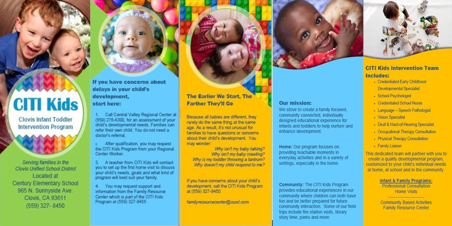 Image of CITI Kids brochure. Babies and toddlers smiliing. Brochure is downloadable by clicking link