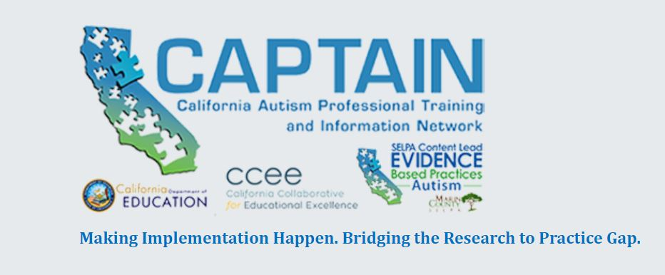 CA Autism Professional Training and Information Network logo. Blue and green image of the shape of the state of CA with puzzle pieces shaped cut outs.