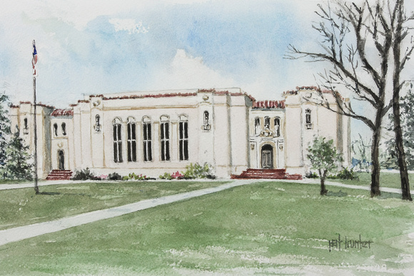 A watercolor rendering of 1920 CHS Building
