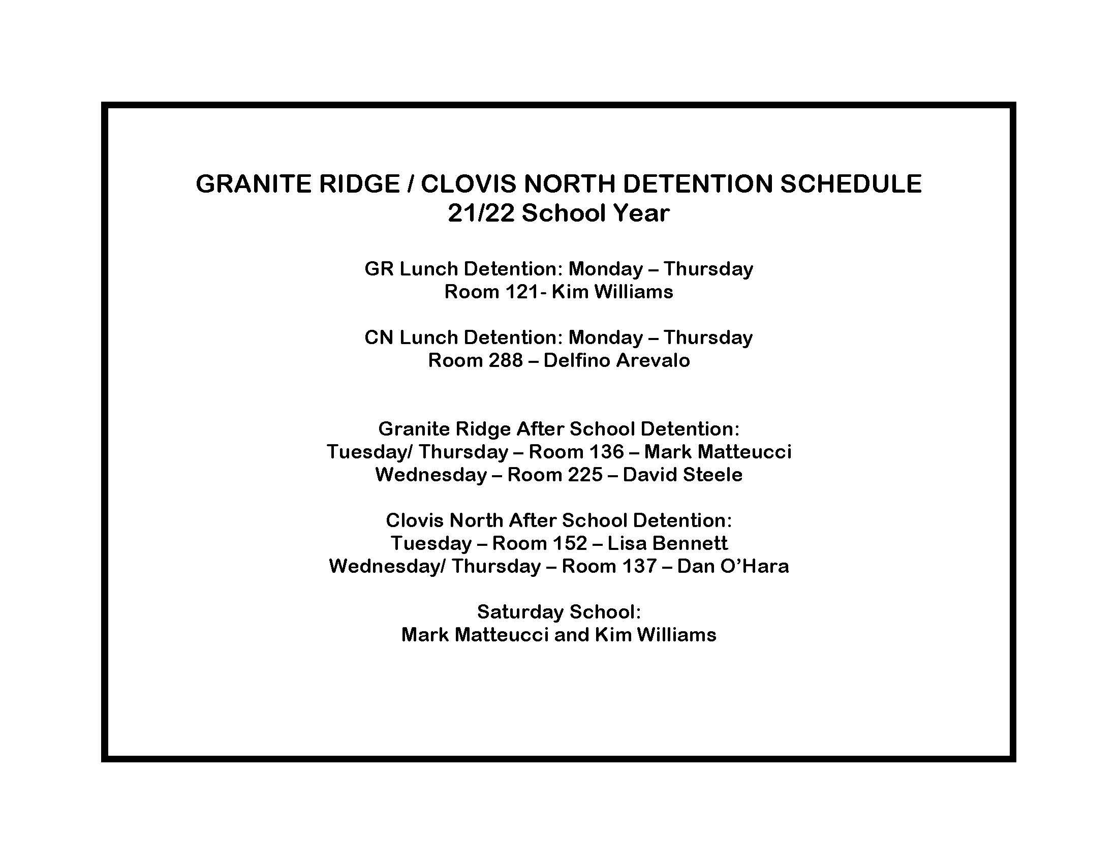 2021/22 After School/Lunch Detention schedule