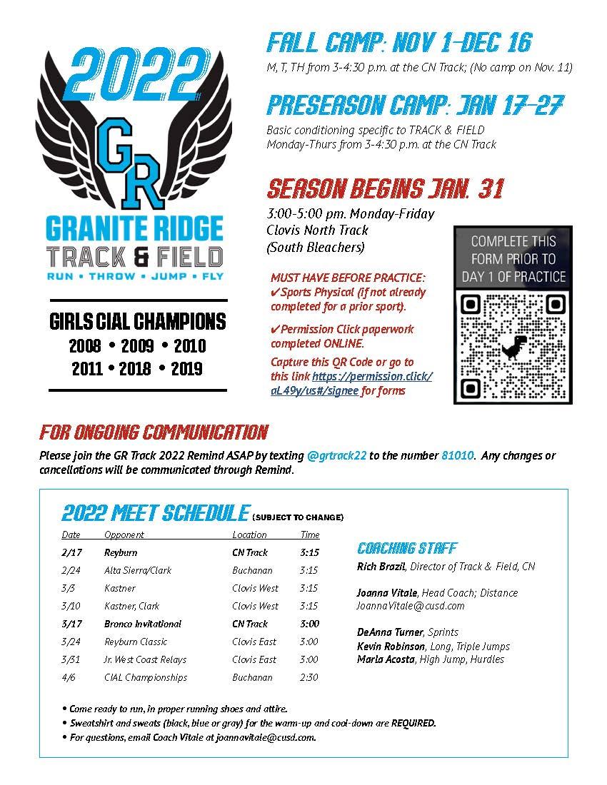 Granite Ridge Track and Field Information
