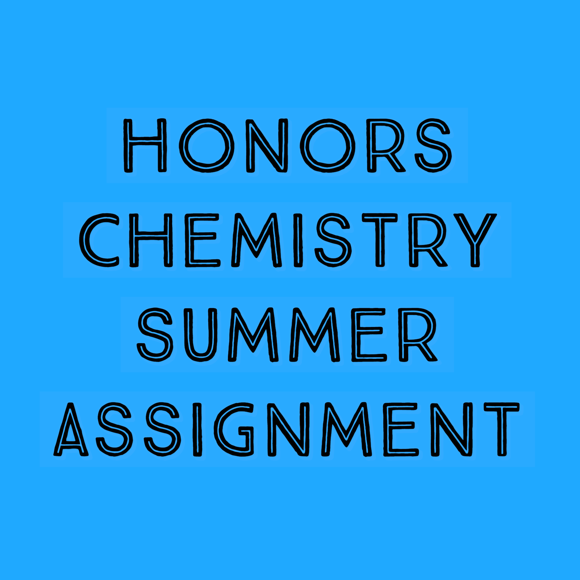 Honors Chem Summer