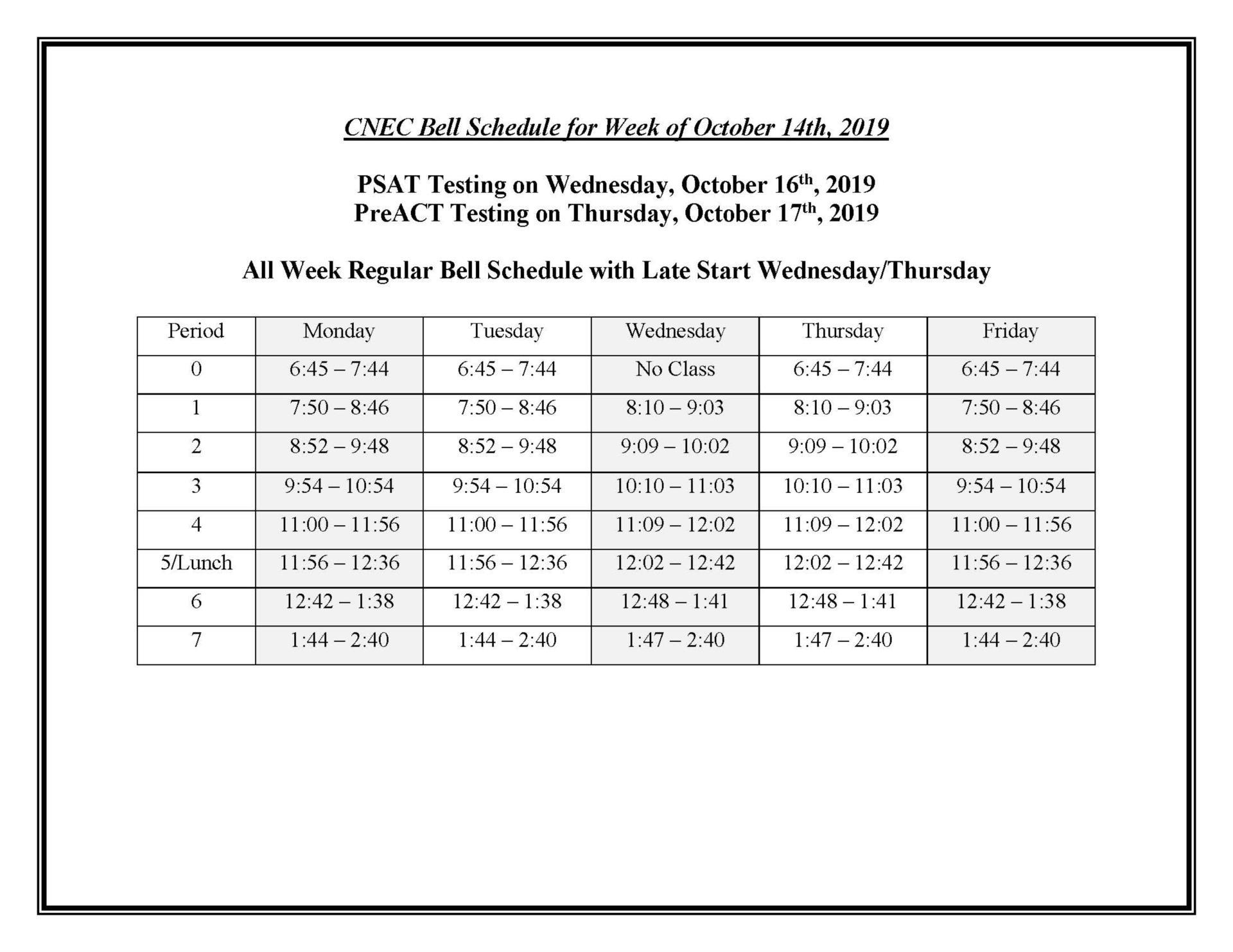 Special Bell Schedule