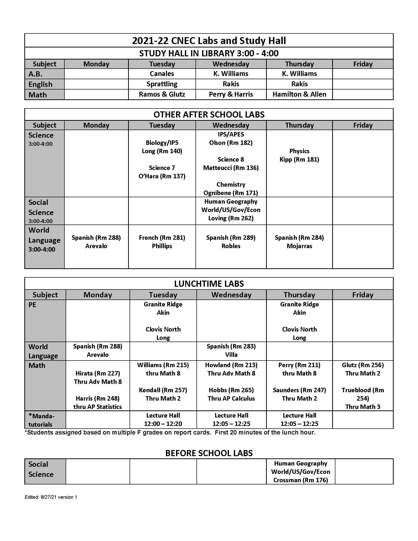 2021/22 Lab Schedule